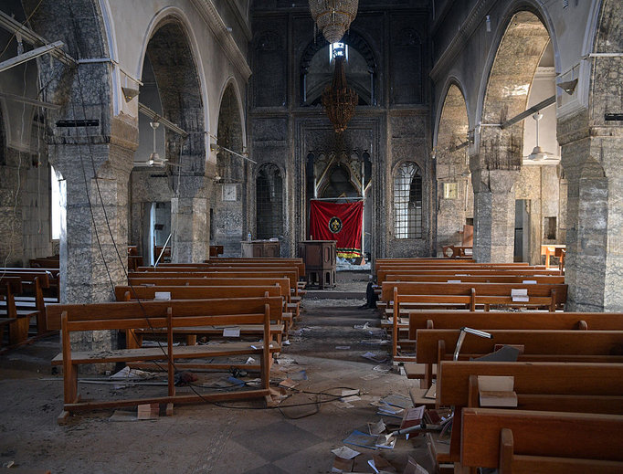 A church that was partially destroyed by Islamic State is pictured during the offensive to recapture the city of Mosul from Islamic State militants on Oct. 23 in Bartella, Iraq.