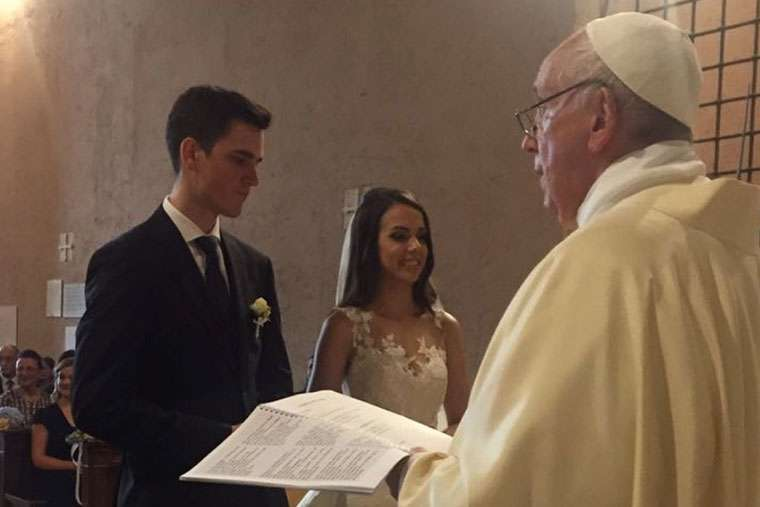 Pope Francis celebrates a wedding in Vatican City July 14.