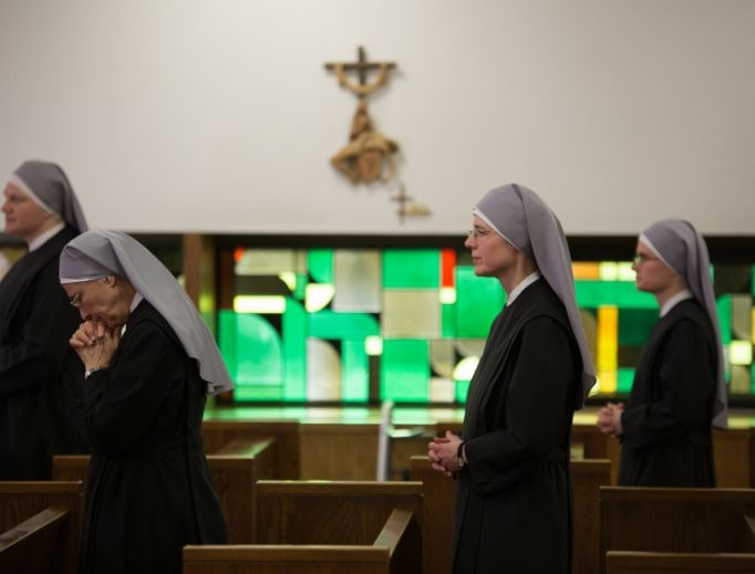 The Little Sisters of the Poor, shown praying in one of their chapels, won their case July 8. But Justice Samuel Alito, in his concurrence, warned that the court's decision left the door open for continued litigation.
