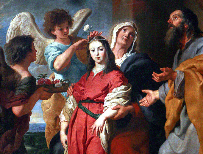 """Gaspar de Crayer (1584-1669), """"Adolescent Virgin Decorated by Angels in the Presence of Joachim and Saint Anne"""""""