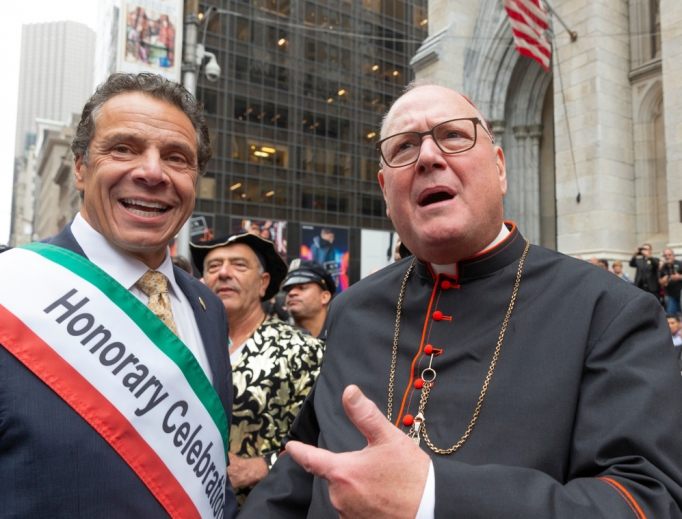 Gov. Andrew Cuomo and Cardinal Timothy Dolan attend the Columbus Day Parade along Fifth Avenue in Manhattan Oct. 8, 2018.