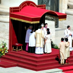 Pope Francis celebrates the sacrament of confirmation at a papal Mass on April 28.