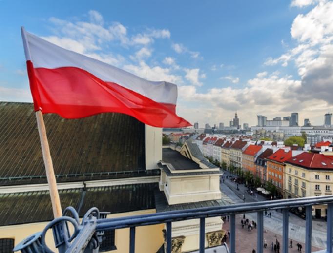 Polish flag waving near Warsaw's city center.