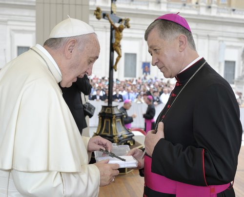 Pope Francis with Archbishop Blase Cupich of Chicago in St. Peter's Square during the Wednesday general audience on Sept. 2, 2015