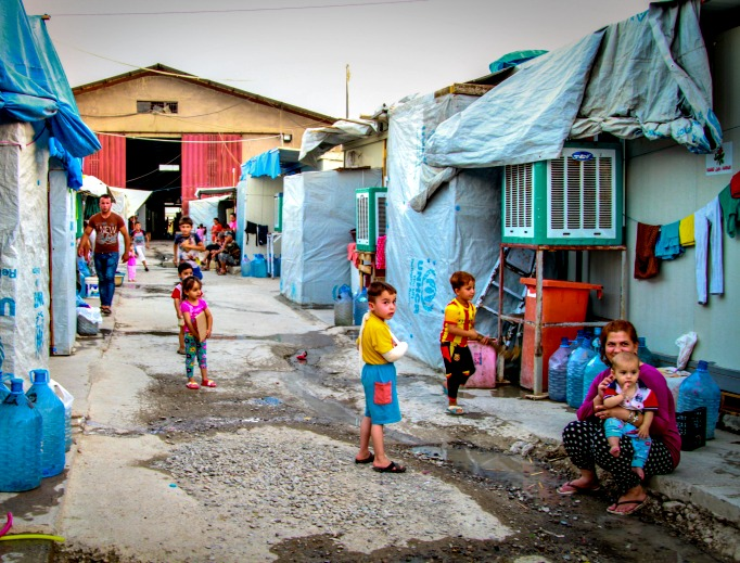 Some Christian families that fled the Islamic State in summer 2014 have lived in refugee camps like this one in Kurdistan (northern Iraq) for two years, often without schools for children.