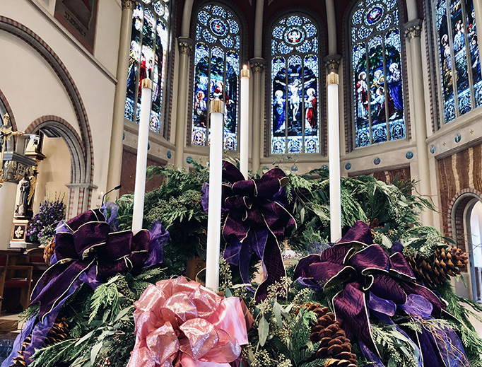An Advent wreath adorns St. John's Cathedral in Lafayette, Louisiana.
