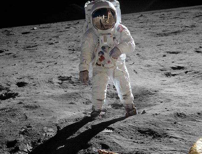 Astronaut Buzz Aldrin on the moon, July 21, 1969