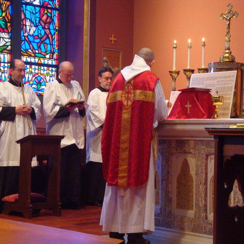Mass celebrated on Palm Sunday in the chapel of Cathedral of the Holy Cross in Boston.