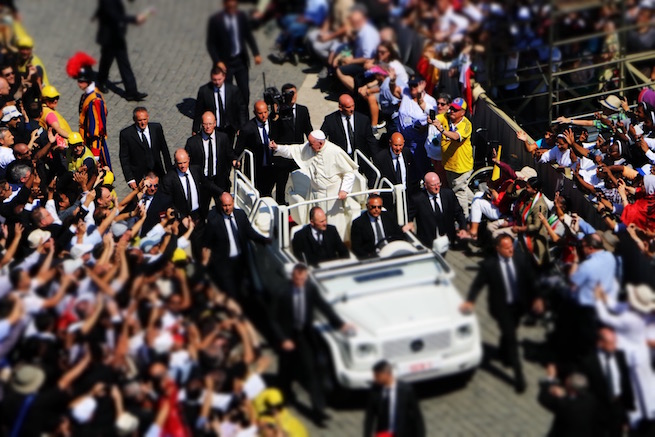 Pope Francis greeting pilgrims at the end of today's canonization Mass in St. Peter's Square.