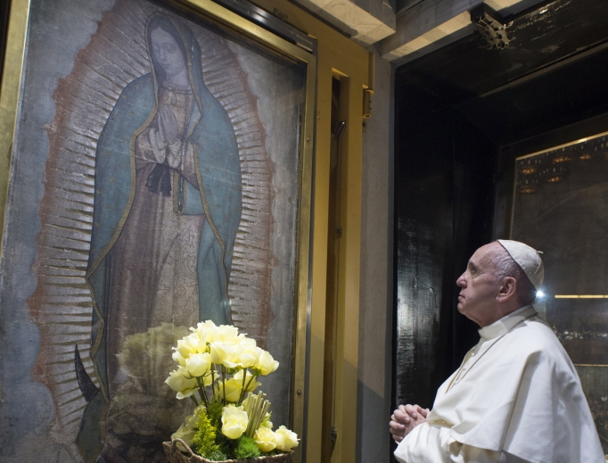 Pope Francis venerates an image of Our Lady of Guadalupe after the celebration of Mass at the Basilica of Our Lady of Guadalupe on Feb. 13, 2016.