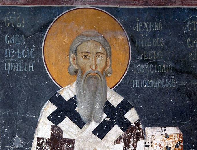 The fresco of young Saint Sava, King`s Church in Studenica, Serbia