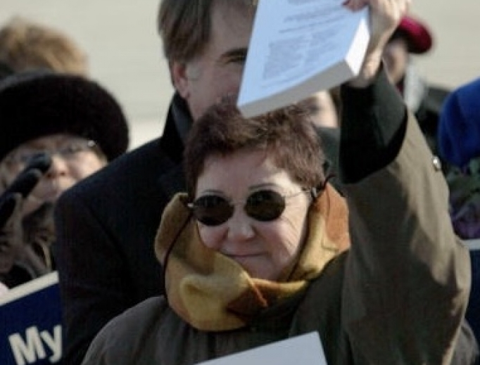 Norma McCorvey, the former Roe of Roe v.Wade, holds up a copy of her petition on the steps of the U.S. Supreme Court on January 18, 2005 in Washington, DC.