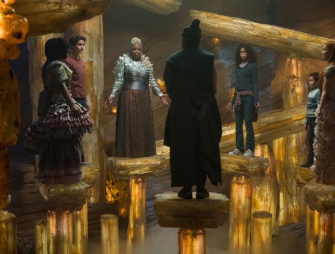 From left, Mindy Kaling is Mrs. Who, Levi Miller is Calvin O'Keefe, Oprah Winfrey is Mrs. Which, Zach Galifianakis is the Happy Medium, Storm Reid is Meg Murry, Deric McCabe is Charles Wallace Murry and Reese Witherspoon is Mrs. Whatsit in 'A Wrinkle in Time.'