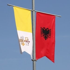 Albanian and papal flags ahead of papal visit in September 2014.