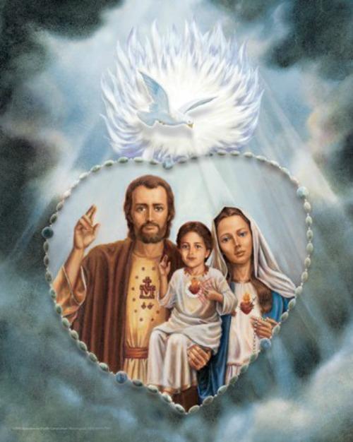 Holy Family of Fatima rosary portrait