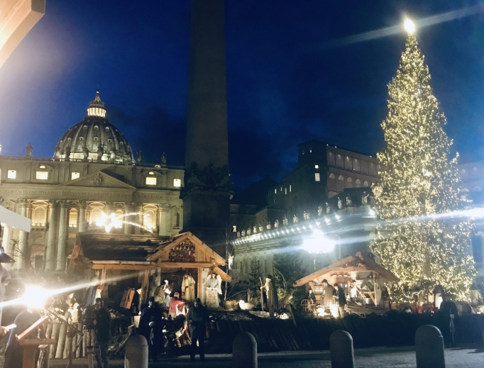 Christmas tree lighting in St. Peter's Square, 2019.