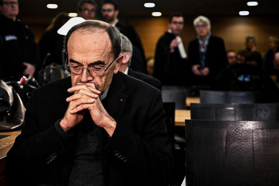 Cardinal Philippe Barbarin arrives in court Jan. 7.