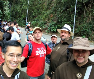From left, Father Miguel, Doug Barry, Father Mark and Father John Paul at Corcovado.