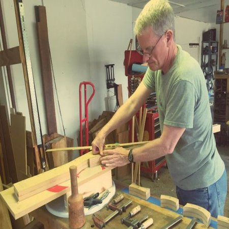 Father David Konderla makes his own crosier.