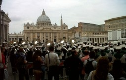 Ohio University's band performs near the Vatican.
