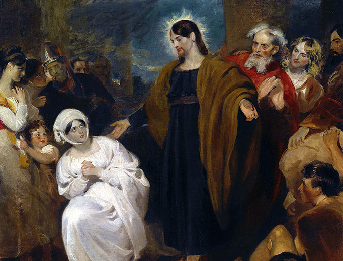 "George Henry Harlow, ""The Virtue of Faith: Christ Heals the Bleeding Woman,"" 1817"