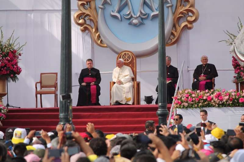 Pope Francis leads prayer at a Marian celebration in Trujillo, Peru, Jan. 20.