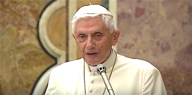 Benedict XVI speaking on the 65th anniversary of his priestly ordination, June 28, 2016.
