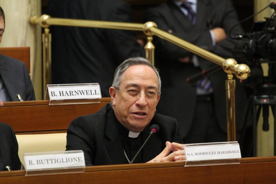 "Cardinal Óscar Andrés Rodríguez Maradiaga, Archbishop of Tegucigalpa, Honduras, at a Vatican conference on Pope Saint John Paul II's encyclical ""Centesimus Annus"", April 15, 2016."