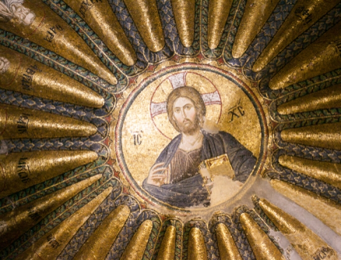 Interior and ancient mosaic in the Church of the Holy Saviour in Chora, or Kariye Camii in Istanbul, Turkey