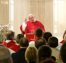Pope Francis preaches at the June 5 morning Mass in St. Martha's House chapel.