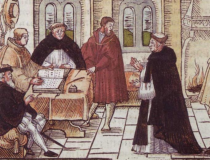 A 16th-century manuscript depicts Martin Luther's meeting with Cardinal Cajetan.