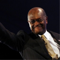 Republican presidential candidate former CEO of Godfather's Pizza Herman Cain is introduced prior to a debate at Constitution Hall Nov. 22 in Washington.