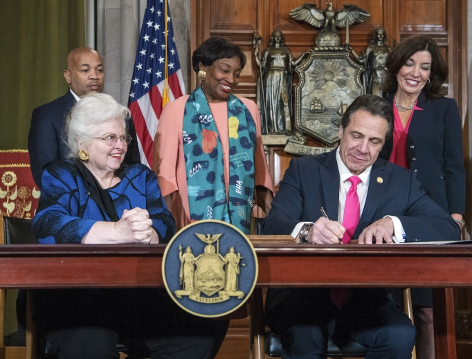 In this photo provided by the office of Gov. Andrew Cuomo, Cuomo, right, signs the Reproductive Health Act during a ceremony Jan. 22 in the Red Room at the State Capitol in Albany, N.Y. Also pictured are attorney Sarah Weddington, front left, who argued Roe v. Wade before the Supreme Court; New York State assembly Speaker Carl Heastie, back left; New York state Senate Leader Andrea Stewart-Cousins, D-Yonkers, standing center; and Democratic Lt. Gov Kathy Hochul, back right.