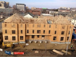 The Phi Kappa Theta Catholic fraternity house in Lincoln, Neb., is taking shape, with an expected opening in August.