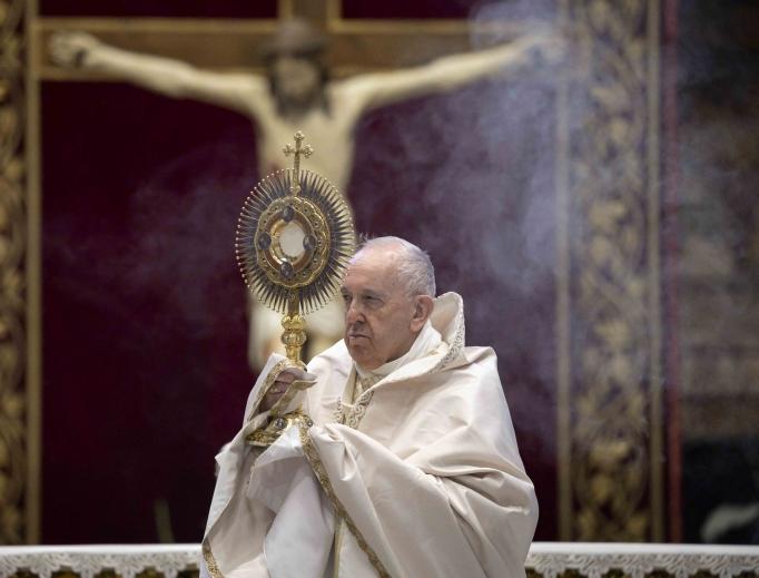 Eucharistic adoration following the pope's Corpus Christi Mass June 14, 2020.