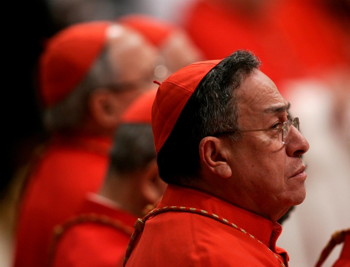 Cardinal Oscar Rodríguez Maradiaga of Honduras attends a Mass for Latin America in St. Peter's Basilica in 2011.