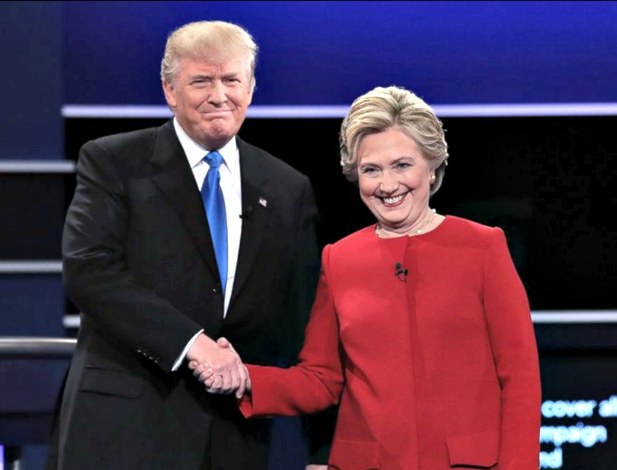 Donald Trump and Hillary Clinton shake hands before Monday's presidential debate.
