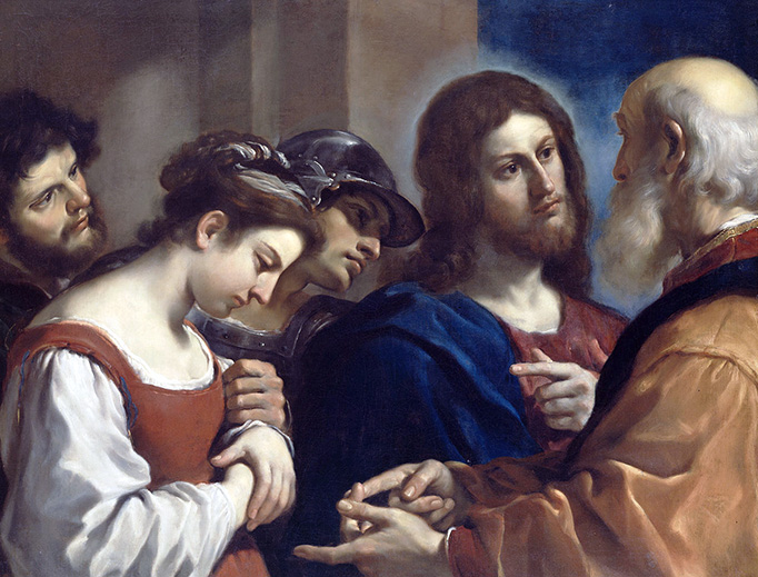 """Guercino, """"The Woman Taken in Adultery,"""" c. 1621"""