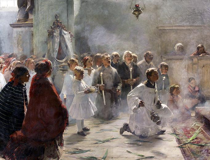 """Zdzisław Jasiński, """"Palm Sunday Mass"""", 1891"""