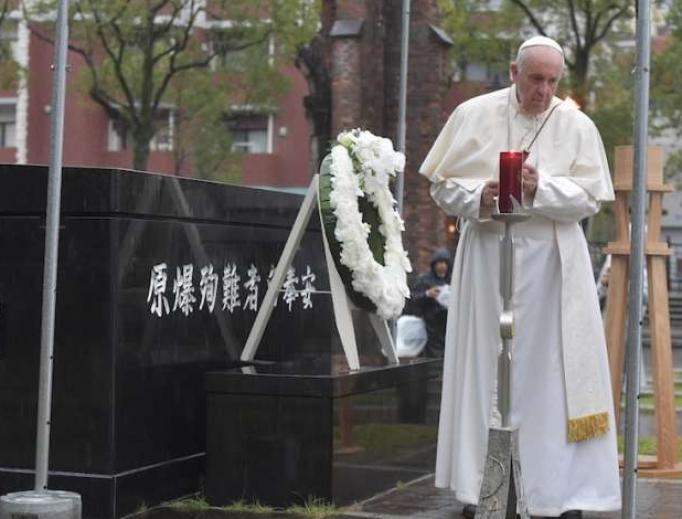 Pope Francis prays at the Nagasaki ground zero site on Nov. 24.