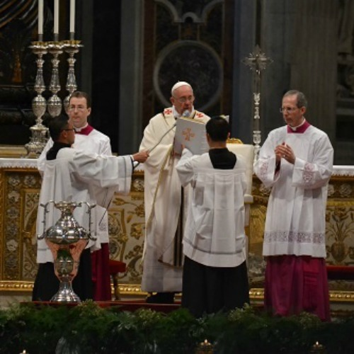 Pope Francis blesses sacred oils during the April 17 chrism Mass at St. Peter's Basilica.