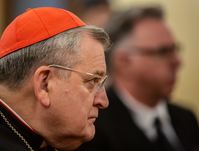 Cardinal Raymond Burke, shown listening in the audience during the book presentation of Christus Vincit in Rome on Oct. 14, 2019, says of the post-synodal document: 'I find the document troubling, in that it's subject to so many different interpretations.'