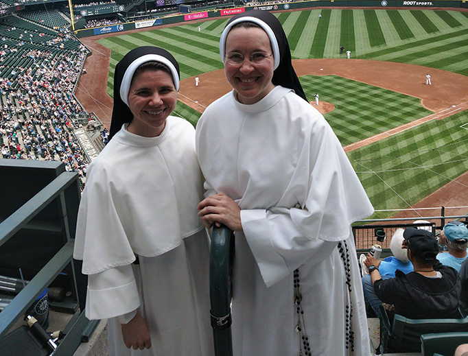 Nashville Dominicans from Our Lady Star of the Sea Church in Bremerton, Washington, attend a Seattle Mariners game on May 16, 2018.