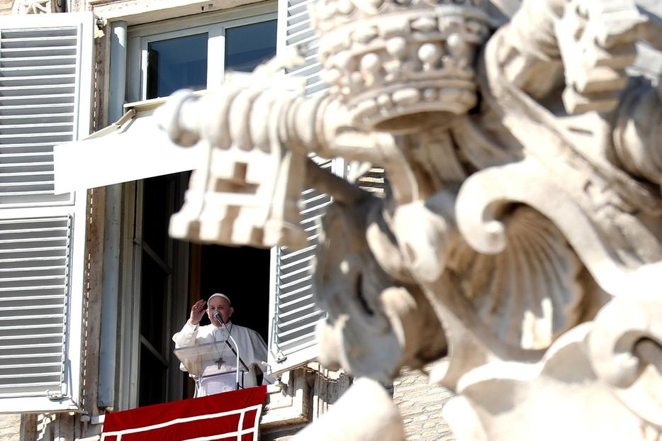 Pope Francis delivers his Sunday Angelus address from the window of the Apostolic Palace overlooking St. Peter's Square, Feb. 16, 2020.