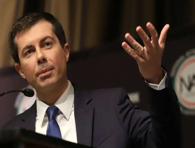Pete Buttigieg speaks at the National Action Network Convention on April 4.