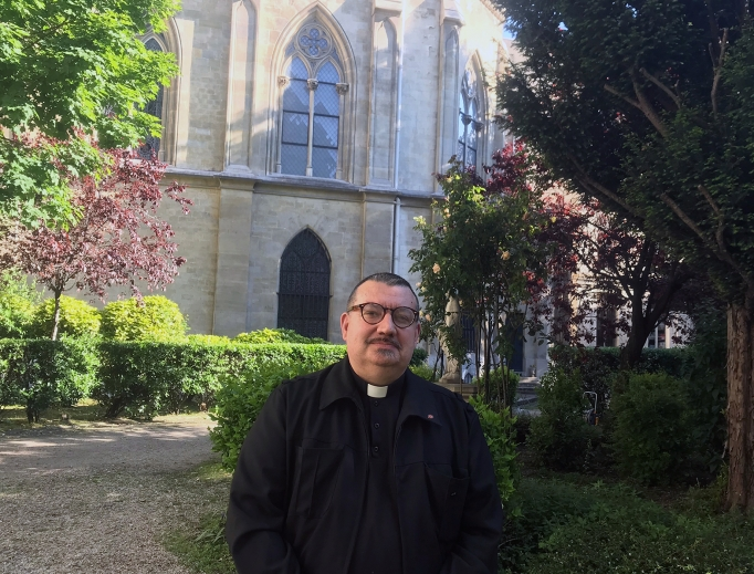 Father Jean-Marc Fournier, shown at the Diocese of the French Armed Forces in Paris in spring 2019, received worldwide recognition for saving sacred items during the Notre Dame Cathedral fire in April 2019. Now, he is encouraging the faithful to stay rooted in faith amid the coronavirus pandemic.