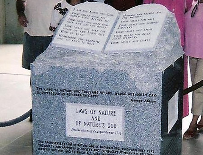The Ten Commandments monument erected by Judge Roy Moore (and later removed) in Montgomery, Alabama.