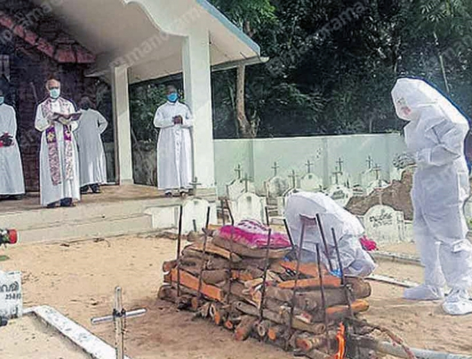 A funeral service during the height of the coronavirus pandemic in Kerala. Below: St. Augustine's Catholic church in Kerala and funeral processions at a Mararikkulam parish.