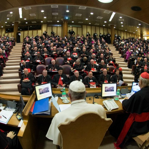 The First General Congregation of the Assembly of the Synod of Bishops in Vatican City with Pope Francis on Oct. 5.