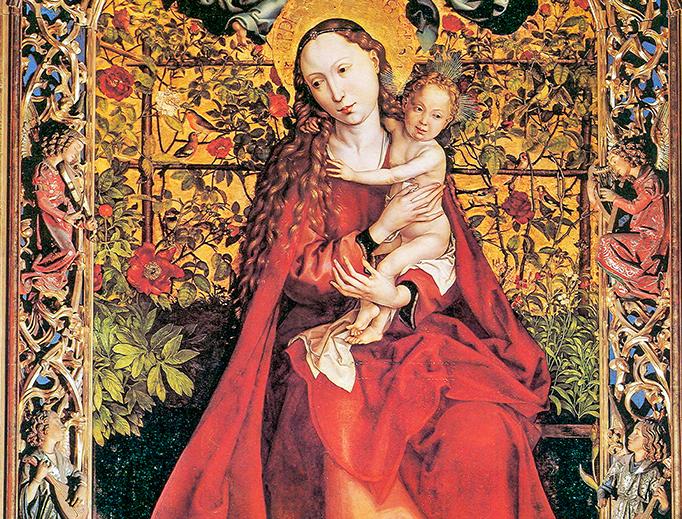 "Martin Schongauer (1448–1491), ""Madonna of the Rose Garden"""